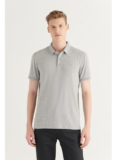 Avva AVVA Erkek Gri Polo Yaka Jakarlı T-Shirt A11Y1163 Gri
